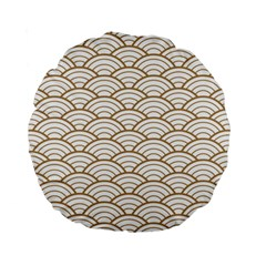 Art Deco,japanese Fan Pattern, Gold,white,vintage,chic,elegant,beautiful,shell Pattern, Modern,trendy Standard 15  Premium Round Cushions