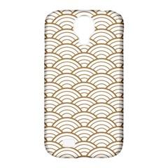 Art Deco,japanese Fan Pattern, Gold,white,vintage,chic,elegant,beautiful,shell Pattern, Modern,trendy Samsung Galaxy S4 Classic Hardshell Case (pc+silicone)