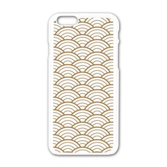 Art Deco,japanese Fan Pattern, Gold,white,vintage,chic,elegant,beautiful,shell Pattern, Modern,trendy Apple Iphone 6/6s White Enamel Case