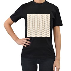 Art Deco,japanese Fan Pattern, Gold,white,vintage,chic,elegant,beautiful,shell Pattern, Modern,trendy Women s T Shirt (black) (two Sided)