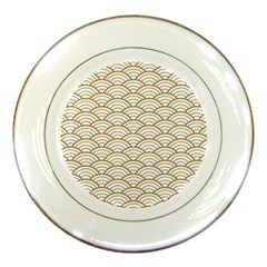 Art Deco,japanese Fan Pattern, Gold,white,vintage,chic,elegant,beautiful,shell Pattern, Modern,trendy Porcelain Plates