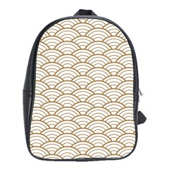 Art Deco,japanese Fan Pattern, Gold,white,vintage,chic,elegant,beautiful,shell Pattern, Modern,trendy School Bag (large)