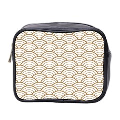 Art Deco,japanese Fan Pattern, Gold,white,vintage,chic,elegant,beautiful,shell Pattern, Modern,trendy Mini Toiletries Bag 2 Side