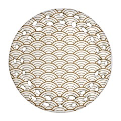 Art Deco,japanese Fan Pattern, Gold,white,vintage,chic,elegant,beautiful,shell Pattern, Modern,trendy Ornament (round Filigree)