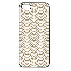 Art Deco,japanese Fan Pattern, Gold,white,vintage,chic,elegant,beautiful,shell Pattern, Modern,trendy Apple Iphone 5 Seamless Case (black)