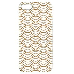 Art Deco,japanese Fan Pattern, Gold,white,vintage,chic,elegant,beautiful,shell Pattern, Modern,trendy Apple Iphone 5 Hardshell Case With Stand
