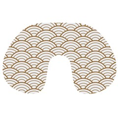 Art Deco,japanese Fan Pattern, Gold,white,vintage,chic,elegant,beautiful,shell Pattern, Modern,trendy Travel Neck Pillows