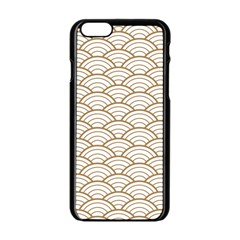 Art Deco,japanese Fan Pattern, Gold,white,vintage,chic,elegant,beautiful,shell Pattern, Modern,trendy Apple Iphone 6/6s Black Enamel Case