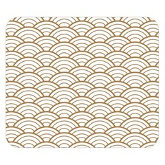 Art Deco,japanese Fan Pattern, Gold,white,vintage,chic,elegant,beautiful,shell Pattern, Modern,trendy Double Sided Flano Blanket (small)