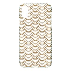 Art Deco,japanese Fan Pattern, Gold,white,vintage,chic,elegant,beautiful,shell Pattern, Modern,trendy Apple Iphone X Hardshell Case