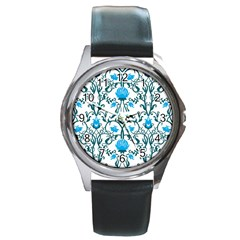 Art Nouveau, Art Deco, Floral,vintage,blue,green,white,beautiful,elegant,chic,modern,trendy,belle ¨|poque Round Metal Watch