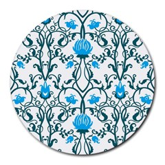 Art Nouveau, Art Deco, Floral,vintage,blue,green,white,beautiful,elegant,chic,modern,trendy,belle ¨|poque Round Mousepads