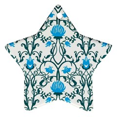 Art Nouveau, Art Deco, Floral,vintage,blue,green,white,beautiful,elegant,chic,modern,trendy,belle ¨|poque Ornament (star)