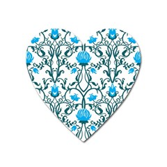 Art Nouveau, Art Deco, Floral,vintage,blue,green,white,beautiful,elegant,chic,modern,trendy,belle ¨|poque Heart Magnet