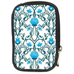 Art Nouveau, Art Deco, Floral,vintage,blue,green,white,beautiful,elegant,chic,modern,trendy,belle ¨|poque Compact Camera Cases