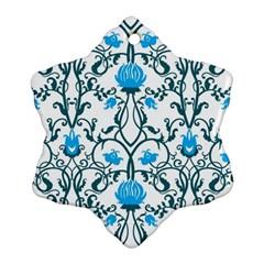 Art Nouveau, Art Deco, Floral,vintage,blue,green,white,beautiful,elegant,chic,modern,trendy,belle ¨|poque Ornament (snowflake)