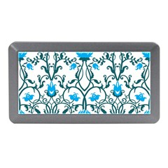 Art Nouveau, Art Deco, Floral,vintage,blue,green,white,beautiful,elegant,chic,modern,trendy,belle ¨|poque Memory Card Reader (mini)
