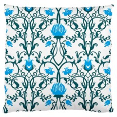 Art Nouveau, Art Deco, Floral,vintage,blue,green,white,beautiful,elegant,chic,modern,trendy,belle ¨|poque Large Cushion Case (two Sides)