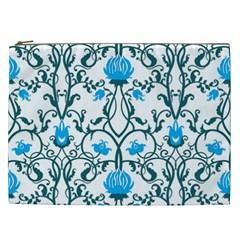 Art Nouveau, Art Deco, Floral,vintage,blue,green,white,beautiful,elegant,chic,modern,trendy,belle ¨|poque Cosmetic Bag (xxl)
