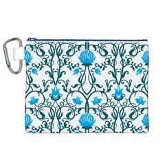 Art Nouveau, Art Deco, Floral,vintage,blue,green,white,beautiful,elegant,chic,modern,trendy,belle ¨|poque Canvas Cosmetic Bag (xl)
