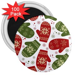 Winter Snow Mittens 3  Magnets (100 Pack)