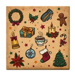 Cute Vintage Christmas Pattern Tile Coasters Front