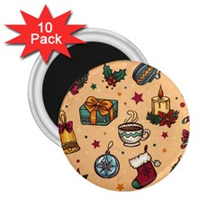Cute Vintage Christmas Pattern 2 25  Magnets (10 Pack)