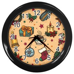 Cute Vintage Christmas Pattern Wall Clocks (black)