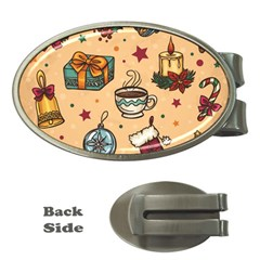 Cute Vintage Christmas Pattern Money Clips (oval)
