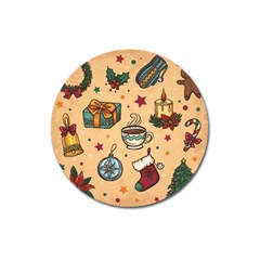 Cute Vintage Christmas Pattern Magnet 3  (round)