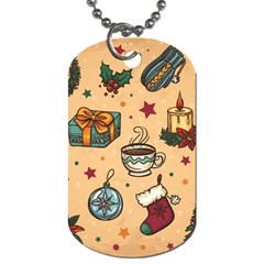 Cute Vintage Christmas Pattern Dog Tag (one Side)