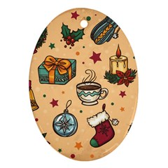 Cute Vintage Christmas Pattern Oval Ornament (two Sides)