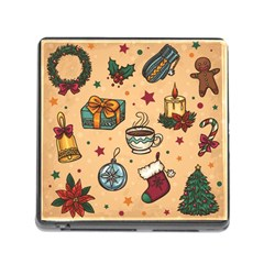 Cute Vintage Christmas Pattern Memory Card Reader (square)