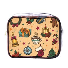 Cute Vintage Christmas Pattern Mini Toiletries Bags