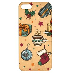 Cute Vintage Christmas Pattern Apple Iphone 5 Hardshell Case With Stand