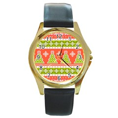 Christmas Tree Ugly Sweater Pattern Round Gold Metal Watch