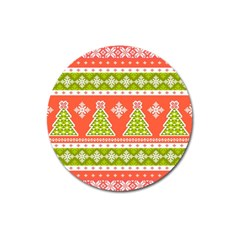 Christmas Tree Ugly Sweater Pattern Magnet 3  (round)