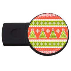 Christmas Tree Ugly Sweater Pattern Usb Flash Drive Round (4 Gb)