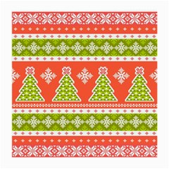 Christmas Tree Ugly Sweater Pattern Medium Glasses Cloth (2 Side)