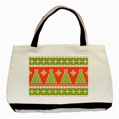 Christmas Tree Ugly Sweater Pattern Basic Tote Bag (two Sides)