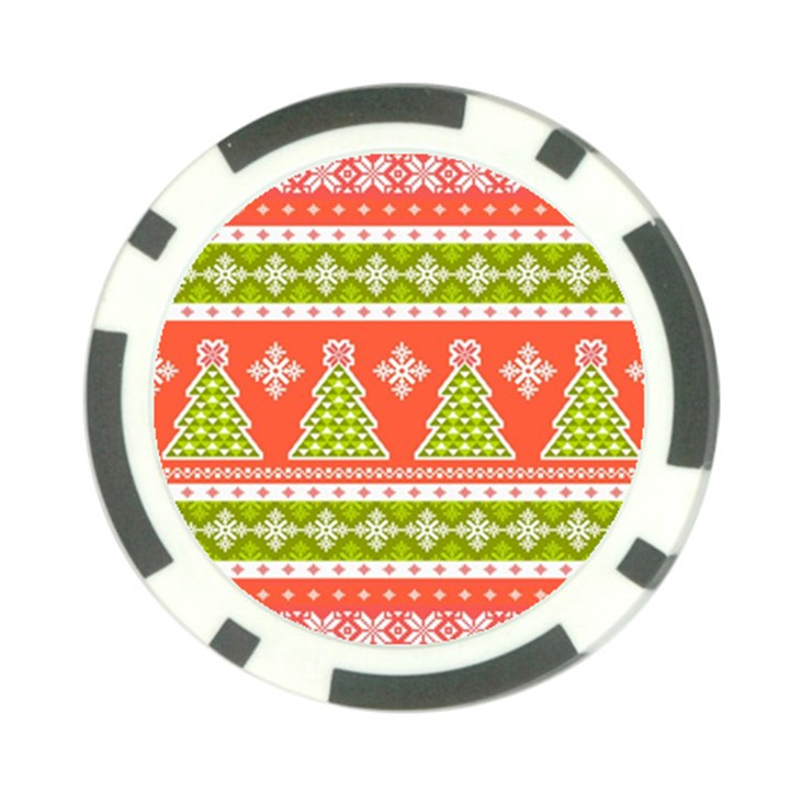 Christmas Tree Ugly Sweater Pattern Poker Chip Card Guard