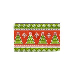 Christmas Tree Ugly Sweater Pattern Cosmetic Bag (small)