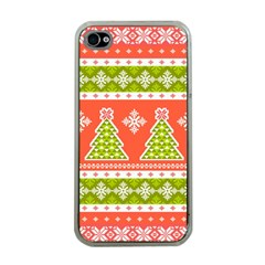 Christmas Tree Ugly Sweater Pattern Apple Iphone 4 Case (clear)