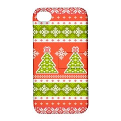 Christmas Tree Ugly Sweater Pattern Apple Iphone 4/4s Hardshell Case With Stand