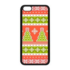 Christmas Tree Ugly Sweater Pattern Apple Iphone 5c Seamless Case (black)