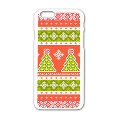 Christmas Tree Ugly Sweater Pattern Apple Iphone 6/6s White Enamel Case