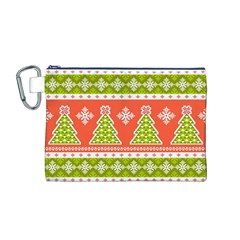 Christmas Tree Ugly Sweater Pattern Canvas Cosmetic Bag (m)
