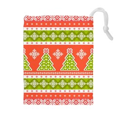 Christmas Tree Ugly Sweater Pattern Drawstring Pouches (extra Large)
