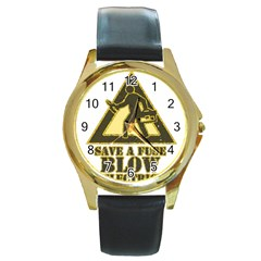 Save A Fuse Blow An Electrician Round Gold Metal Watch