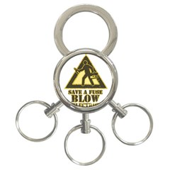 Save A Fuse Blow An Electrician 3 Ring Key Chains